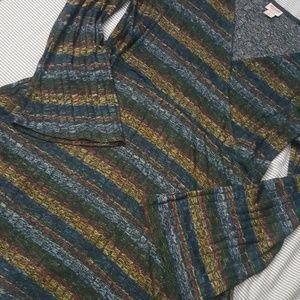 Striped Midi A-Line Cotton Dress w Flared Sleeves